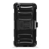 Armor Kickstand Holster Clip Case for LG Tribute HD LS676 Black/Black