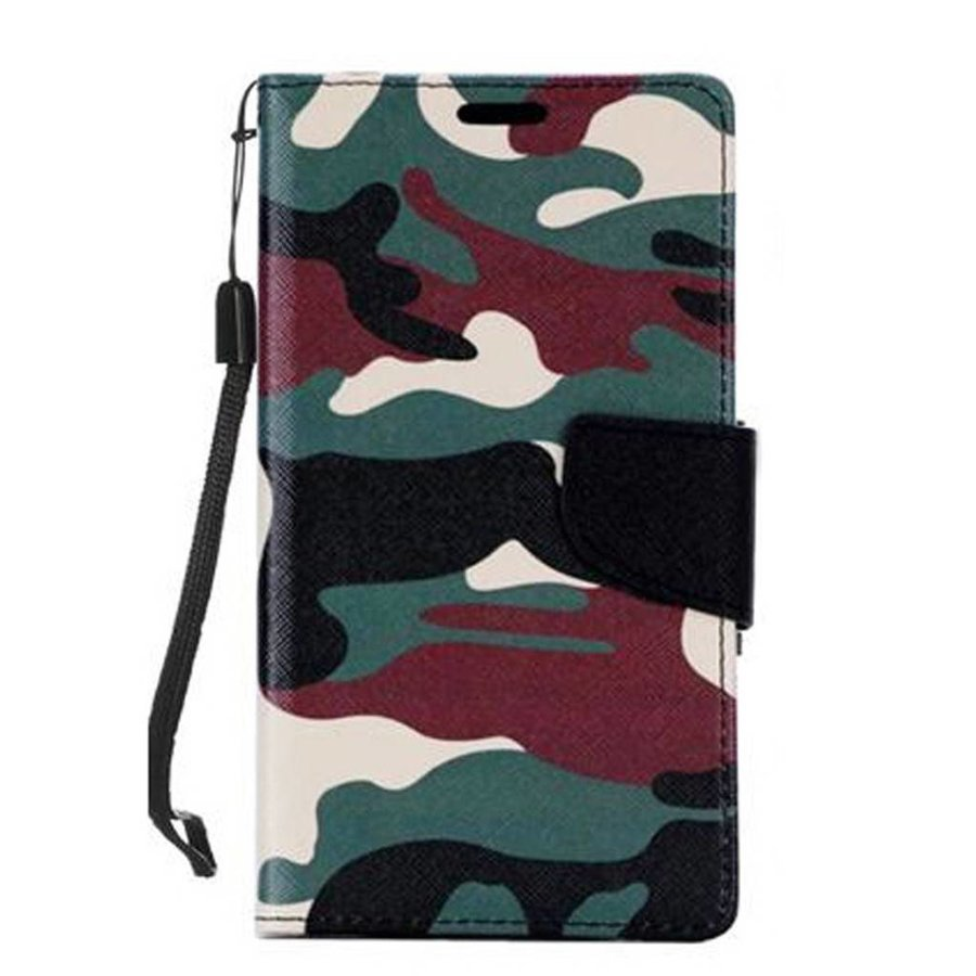 Design Leather Flip Wallet Credit Card For LG Tribute HD LS676 - Army