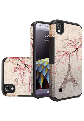 Rubberized Slim Dual layer Armor Design Case For LG Tribute HD LS676 - Vintage Eiffel Tower