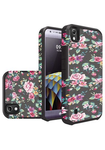Rubberized Slim Dual layer Armor Design Case For LG Tribute HD LS676 - Tropical Flowers