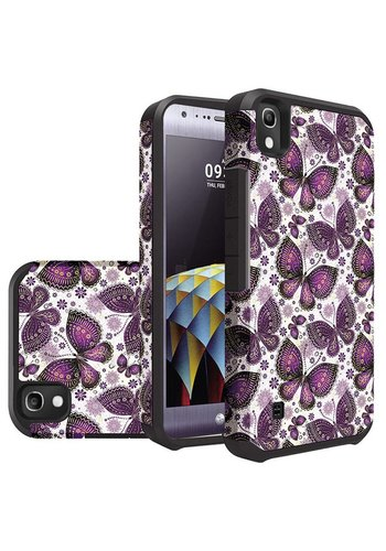 Rubberized Slim Dual layer Armor Design Case For LG Tribute HD LS676 - Violet Butterfly Bliss