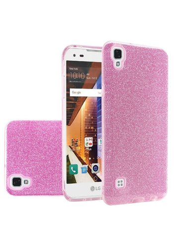 Hybrid Clear PC TPU Case with Glitter Paper For LG Tribute HD LS676