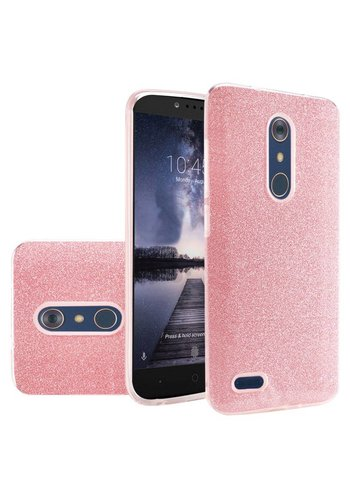 Hybrid Clear PC TPU Case with Glitter Paper for ZTE ZMAX Pro
