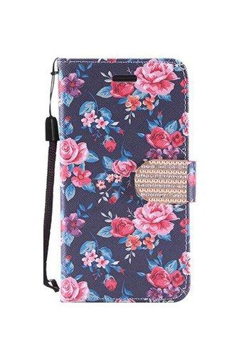 Design Leather Flip Wallet Credit Card Case For Alcatel Fierce 4 - Tropical Flower