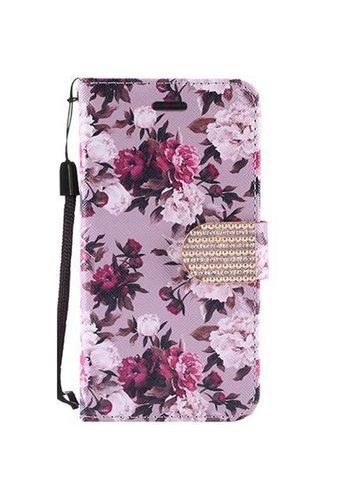 Design Leather Flip Wallet Credit Card Case For Alcatel Fierce 4 - Pink White Roses