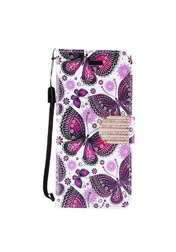 Design Leather Flip Wallet Credit Card Case For Alcatel Fierce 4 - Violet Butterfly Bliss