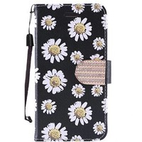 Design Leather Flip Wallet Credit Card Case For Alcatel Fierce 4 - White Daisy