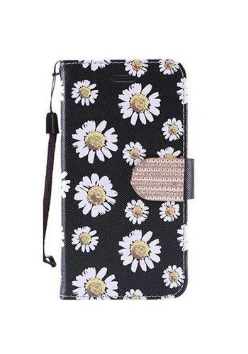 Design Leather Flip Wallet Credit Card Case For Alcatel Fierce 4 - White Daisy