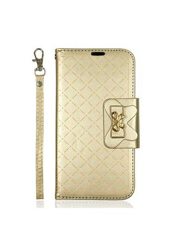 Guardian Leather Flip Wallet Credit Card Case For Galaxy J7 Perx / Prime 2017 - Ribbon Wallet