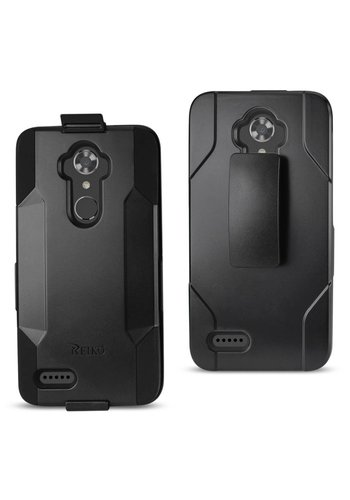 Reiko Hybrid Heavy Duty Holster Clip Case for ZTE Max XL