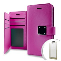 Deluxe Hybrid PU Leather Flip Cover Case Wallet with Credit Card Slots for Galaxy J7 Perx / Prime 2017