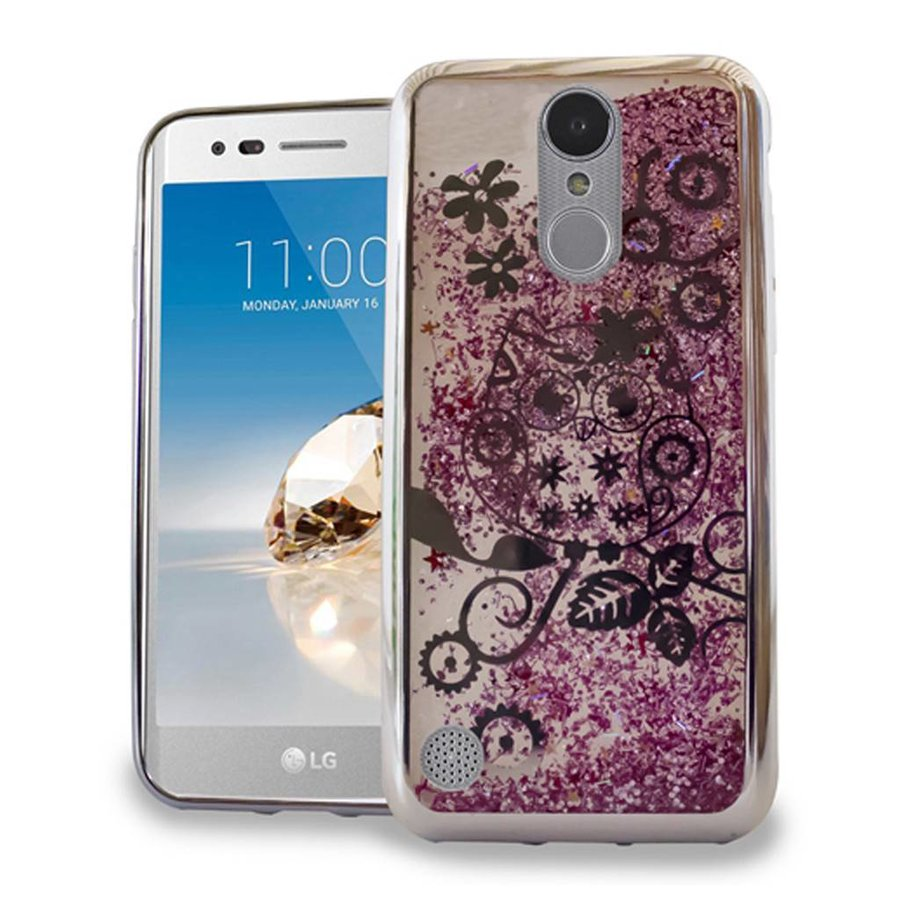 Chrome Glitter Motion Owl Case for LG Aristo LV3 Silver/Pink