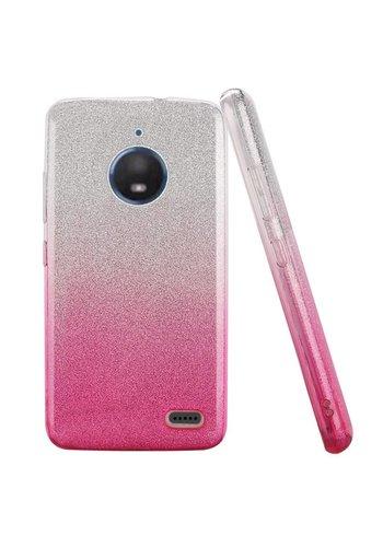 Gradient Two Tone Glitter Paper TPU Gel Case For Motorola Moto E4