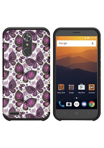 Rubberized Slim Dual layer Armor Design Case For ZTE MAX XL N9560 - Violet Butterfly Bliss