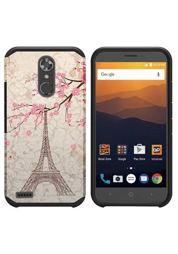 Rubberized Slim Dual layer Armor Design Case For ZTE MAX XL N9560 - Vintage Eiffel Tower