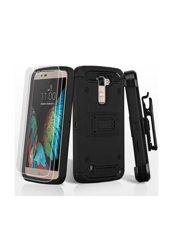 MYBAT Kinetic Hybrid Holster Clip Case Combo with (Twin Screen Protectors) for LG K10