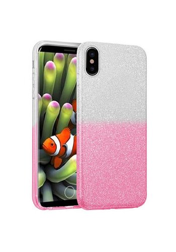 Gradient Two Tone Glitter Paper TPU Gel Case For iPhone X