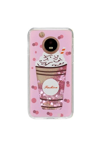Guardian PC + TPU Liquid Quicksand with Fashion Milkshake Cup Case for Motorola Moto E4 - Art Milkyway