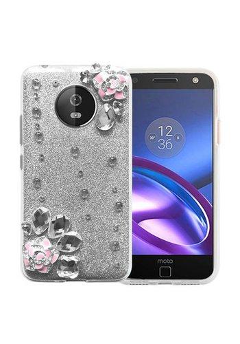 Guardian TPU Gel Rhinestone Rose Glitter Paper Case For Motorola Moto E4 - Apro Treasure Mild