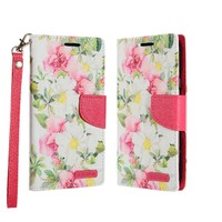 ECLIPSE Hybrid PU Leather Design Flip Cover Case Wallet with Credit Card Slots for Galaxy J7 Perx / Prime 2017 - Pink and White Flowers