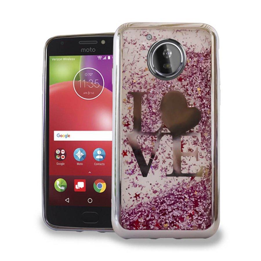 Chrome Glitter Motion Love Case for Motorola Moto E4