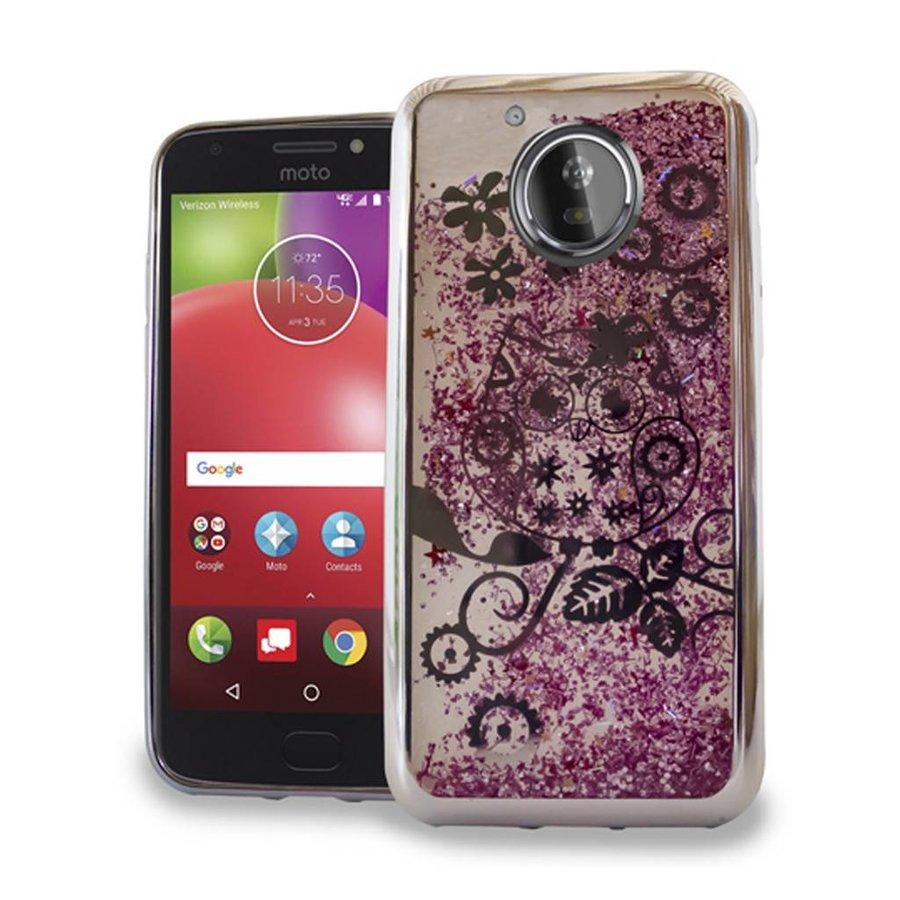 Chrome Glitter Motion Owl Case for Motorola Moto E4
