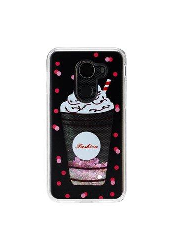 Guardian PC + TPU Liquid Quicksand with Fashion Milkshake Cup Case for Alcatel A30 Plus / A30 Fierce 2017 / REVVL / Walters - Art Milkyway