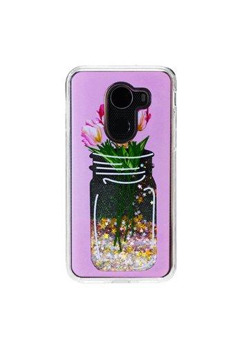 Guardian PC + TPU Liquid Quicksand with Flower Mason Jar Case for Alcatel A30 Plus / A30 Fierce 2017 / REVVL / Walters - Art Milkyway