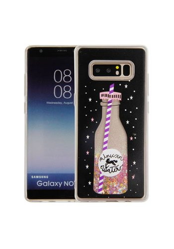 Guardian PC + TPU Liquid Quicksand with Unicorn Water Bottle Case for Galaxy Note 8 - Art Milkyway