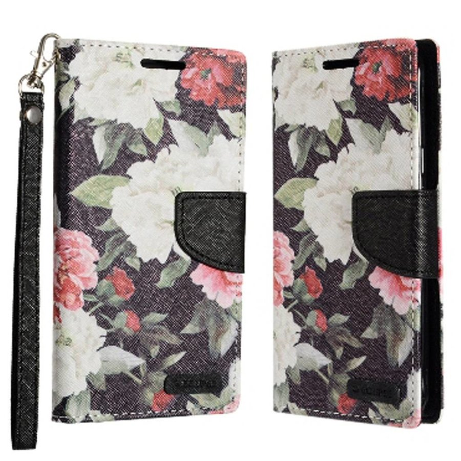 ECLIPSE Hybrid PU Leather Design Flip Cover Case Wallet with Credit Card Slots for Galaxy J3 Emerge / Prime (2017) - Floral Pattern with Roses