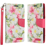ECLIPSE Hybrid PU Leather Design Flip Cover Case Wallet with Credit Card Slots for Galaxy J3 Emerge / Prime (2017) - Pink and White Flowers