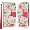 ECLIPSE Hybrid PU Leather Design Flip Cover Case Wallet with Credit Card Slots for LG Aristo LV3 MS210 - Pink and White Flowers