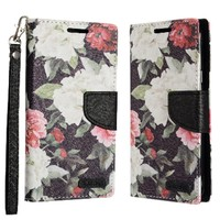 ECLIPSE Hybrid PU Leather Design Galaxy  Flip Cover Case Wallet with Credit Card Slots for LG Aristo LV3 MS210 - Floral Pattern with Roses