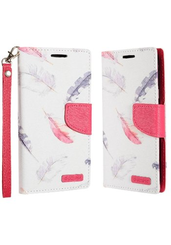 ECLIPSE Hybrid PU Leather Design Flip Cover Case Wallet with Credit Card Slots for ZTE Tempo X N9137 / ZTE Avid 4 - Feathers