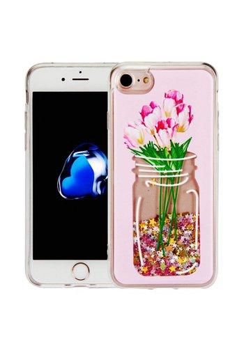 Guardian PC + TPU Liquid Quicksand with Flower Mason Jar Case for iPhone 7/8 - Art Milkyway