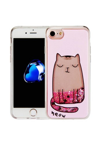 Guardian PC + TPU Liquid Quicksand with Meow Cat Case for iPhone 7/8 - Art Milkyway