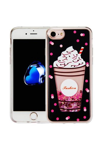 Guardian PC + TPU Liquid Quicksand with Fashion Milkshake Cup Case for iPhone 7/8 - Art Milkyway