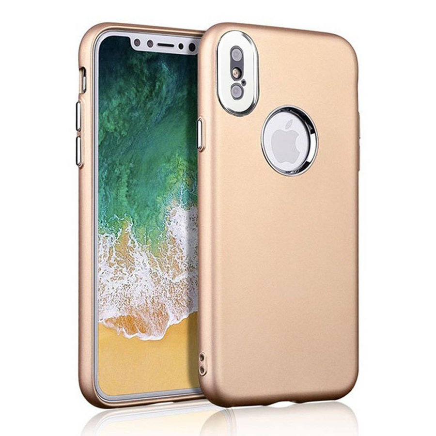 Fashion PC+TPU Gel Solid Metallic Chrome Case for iPhone X