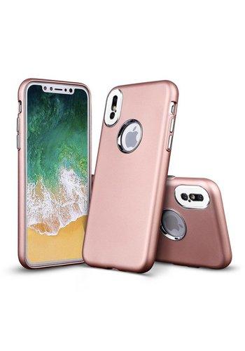 Fashion PC+TPU Gel Solid Metallic Chrome Case for iPhone X