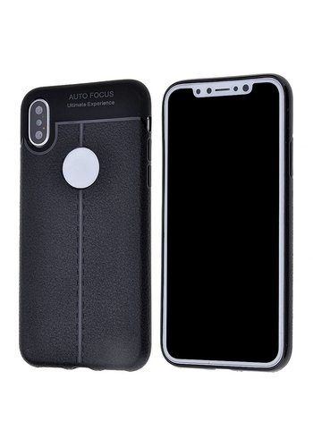 Fashion Auto Focus TPU Gel Leather Pattern Case for iPhone X