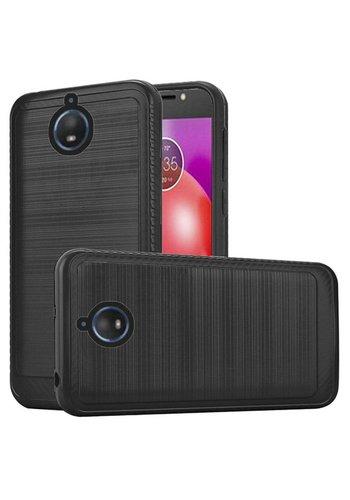 Metallic PC TPU Brushed Case with Carbon Fiber Edge for Motorola Moto E4 Plus