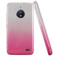 Gradient Two Tone Glitter Paper TPU Gel Case For Motorola Moto E4 Plus