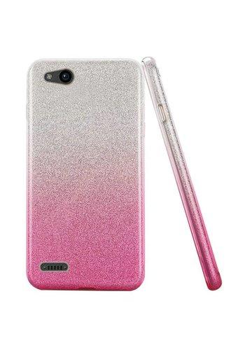 Gradient Two Tone Glitter Paper TPU Gel Case For ZTE Tempo X N9137 / ZTE Avid 4