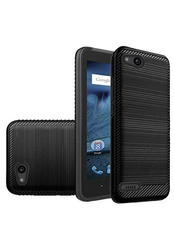 Metallic PC TPU Brushed Case with Carbon Fiber Edge for ZTE Tempo X N9137 / ZTE Avid 4