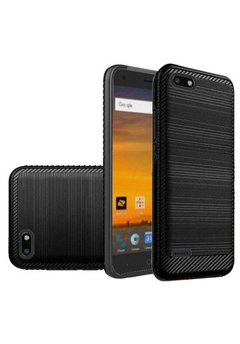 Metallic PC TPU Brushed Case with Carbon Fiber Edge for ZTE Blade Force N9517