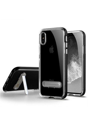Guardian PC + TPU Clear Case with Solid Edge and Kickstand For iPhone X - Stand Bumper
