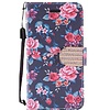 Design Leather Flip Wallet Credit Card Case For Galaxy J7 Perx / Prime 2017 - Tropical Flower