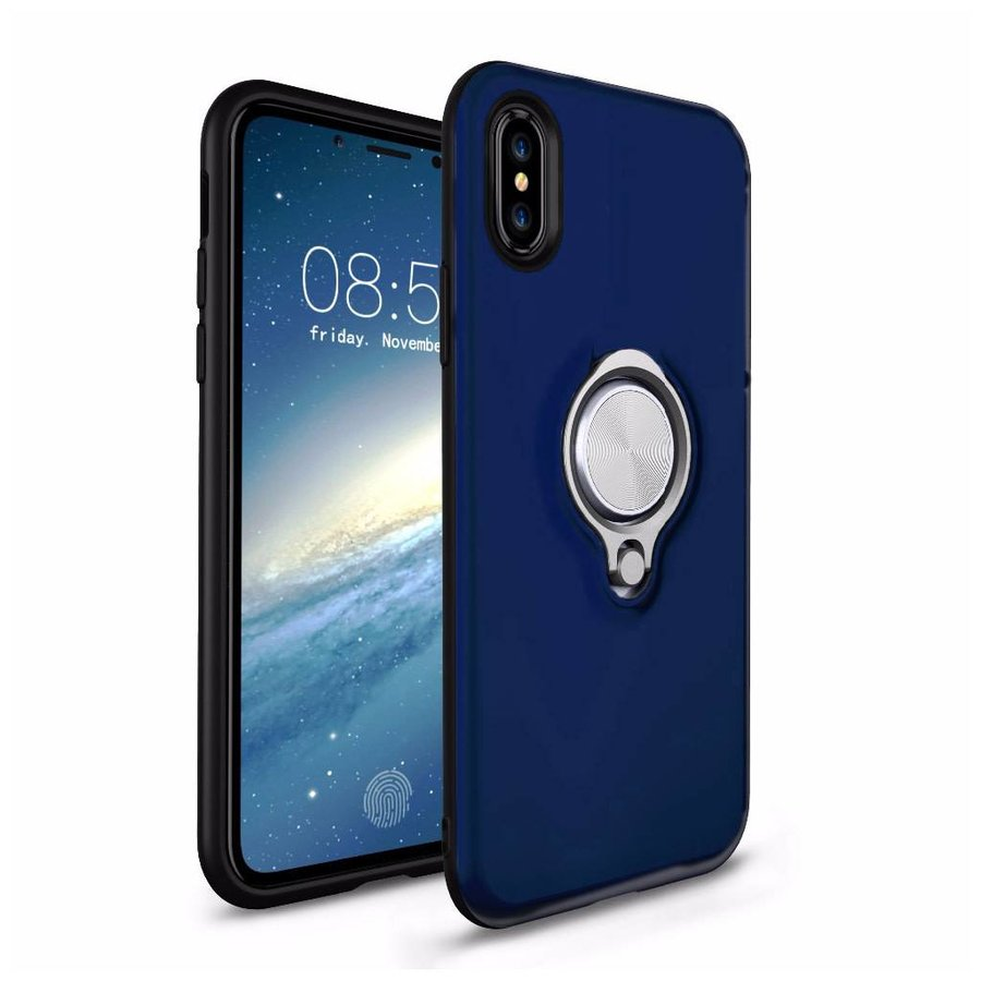 Fashion PC TPU Magnetic Shield Case with Ring Holder for iPhone X