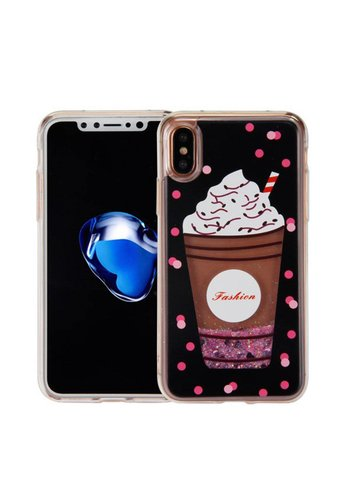 Guardian PC + TPU Liquid Quicksand with Fashion Milkshake Cup Case for iPhone X - Art Milkyway