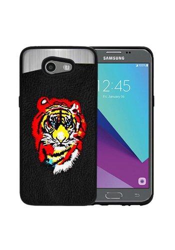 PC TPU Embroidery Design Case for Galaxy J3 Emerge / Prime (2017) Tiger